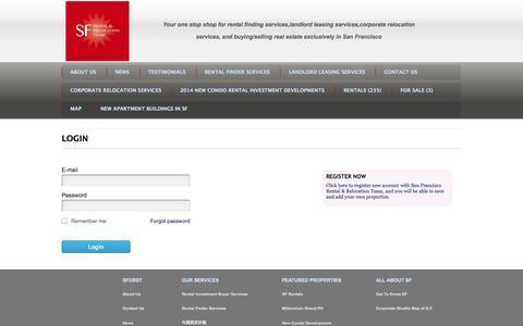 Screenshot of Login Page sfdreamrentalsales.com - User authentication | San Francisco Rental & Relocation Team - captured Oct. 4, 2014