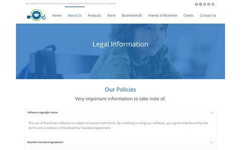Screenshot of Terms Page brainline.com - Legal Information - Brainline Learning World - captured Jan. 26, 2016
