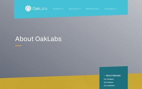 Screenshot of About Page oak-labs.com - Information about the company | OakLabs - captured June 11, 2017