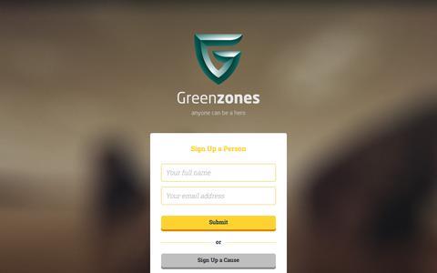 Screenshot of Signup Page greenzones.org - Greenzones - captured Dec. 9, 2015