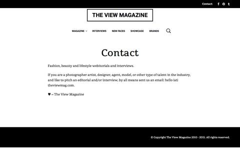Screenshot of Contact Page theviewmag.com - Contact - THE VIEW MAGAZINE - captured Feb. 28, 2016