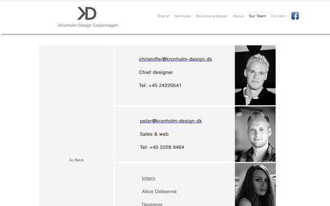 Screenshot of Team Page kronholm-design.dk - Contact KD - captured Aug. 9, 2016