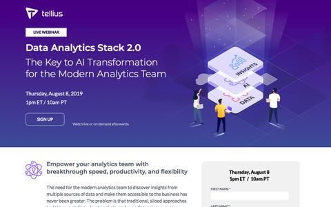 Screenshot of Signup Page tellius.com - Data Analytics Stack 2.0 - The Key to AI Transformation for the Modern Analytics Team - Tellius Webinar - captured July 17, 2019