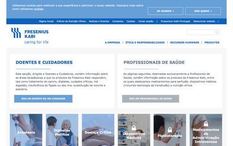 Screenshot of Products Page fresenius-kabi.com - Produtos - Fresenius Kabi Portugal - captured Sept. 26, 2018