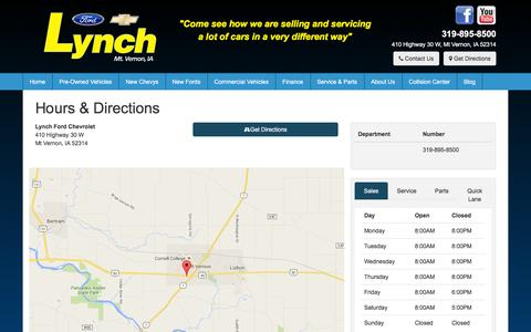 Screenshot of Hours Page lynchfordchevrolet.com - Lynch Ford Chevrolet Hours & Directions - Mount Vernon Chevrolet,Ford dealer in Mt Vernon IA - New and Used Chevrolet,Ford dealership Cedar Rapids Iowa City Marion IA - captured Dec. 15, 2015
