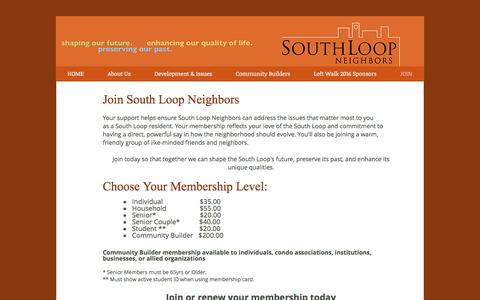 Screenshot of Signup Page southloopneighbors.org - South Loop Neighbors  | JOIN - captured April 28, 2017