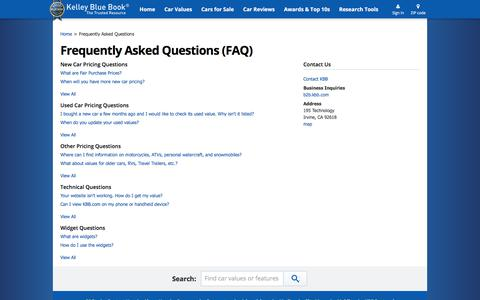 Screenshot of FAQ Page kbb.com - FAQs - Frequently Asked Questions - Kelley Blue Book - captured July 20, 2017
