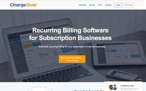 Screenshot of Home Page chargeover.com - Recurring Billing Software by ChargeOver - captured Feb. 23, 2016
