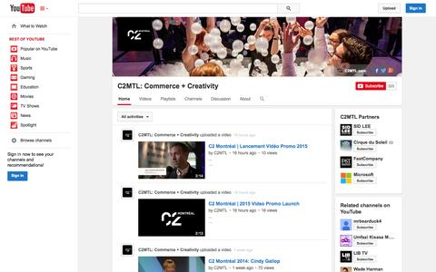 Screenshot of YouTube Page youtube.com - C2MTL: Commerce + Creativity  - YouTube - captured Oct. 22, 2014