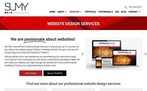 Screenshot of Services Page sumydesigns.com - Website Design Services | Web Design & Development | Sumy Designs - captured July 22, 2019