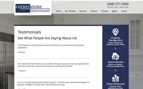 Screenshot of Testimonials Page cornerstonepm.net - Testimonials - Cornerstone Property Management - captured Nov. 12, 2016