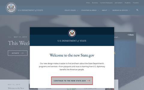 Screenshot of Home Page state.gov - U.S. Department of State - United States Department of State - captured May 19, 2019