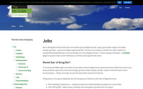 Screenshot of Jobs Page nocrisis.dk - Karriere sammen med os | The No Crisis Company - captured Aug. 13, 2017