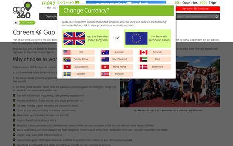 Screenshot of Jobs Page gap360.com - Careers & Jobs at Gap 360 Ltd in Tunbridge Wells - captured July 16, 2018