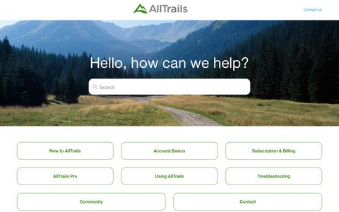 Screenshot of Support Page alltrails.com - AllTrails Help - captured Feb. 13, 2019