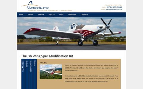 Screenshot of Products Page aeronautix.com - Thrush Wing Spar Modification Kit - Aeronautix - captured Oct. 4, 2014