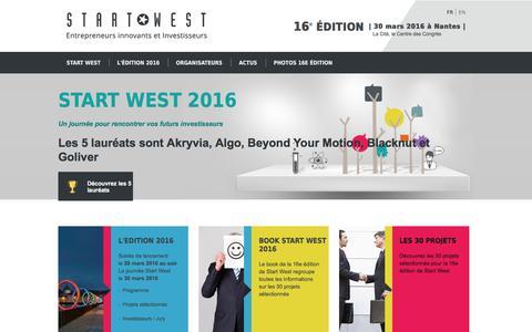 Screenshot of Home Page start-west.com - Accueil | Start West - captured June 6, 2016