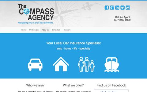 Screenshot of Home Page thecompassagency.com - Auto Insurance, Car Insurance, Kannapolis, Concord, Charlotte, NC - The Compass Agency - captured Oct. 7, 2014