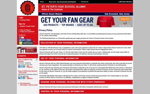 Screenshot of Privacy Page stpetersalumni.org - St. Peter's High School Alumni - Privacy Policy - captured Oct. 21, 2018