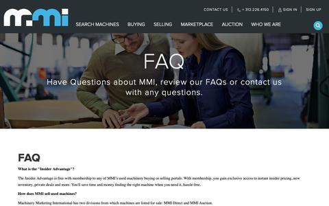 Screenshot of FAQ Page mmi-direct.com - CNC Machines for Sale - Used CNC Machines & CNC Machines for Sale at MMI Direct - captured Oct. 1, 2018