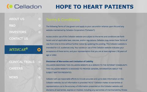 Screenshot of Terms Page celladon.com - Terms & Conditions | Celladon - captured June 17, 2015