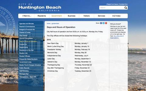 Screenshot of Hours Page huntingtonbeachca.gov - City of Huntington Beach, CA - Days and Hours of Operation - captured Sept. 22, 2018