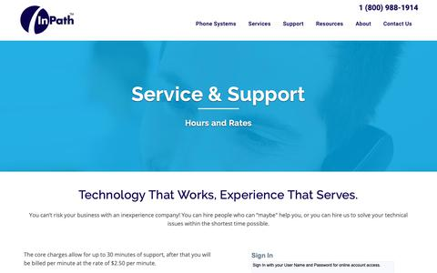 Screenshot of Support Page inpath.com - Service & Support - InPath - captured Oct. 11, 2018
