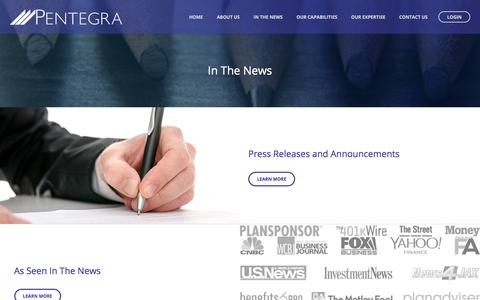 Screenshot of Press Page pentegra.com - News | Pentegra - captured July 22, 2017