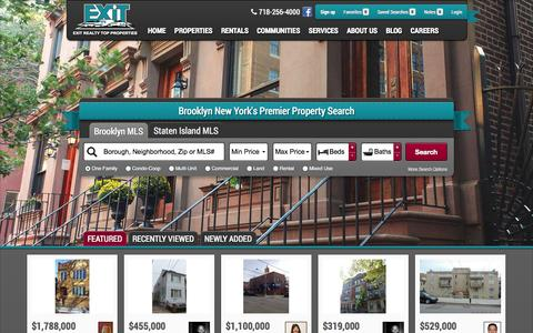 Screenshot of Home Page exittopproperties.com - Real Estate Properties in Brooklyn, New York - captured Oct. 3, 2014