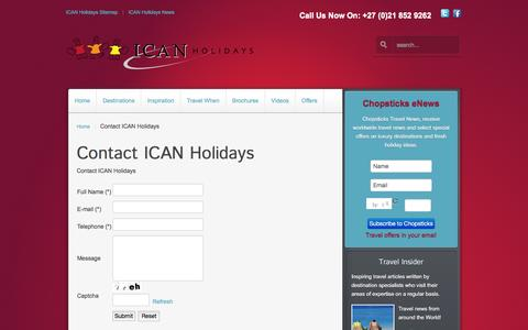 Screenshot of Contact Page icanholidays.com - Contact ICAN Holidays - captured Dec. 18, 2015