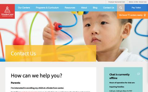 Screenshot of Contact Page kindercare.com - Contact Us   KinderCare - captured Feb. 15, 2019