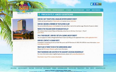 Screenshot of FAQ Page margaritavillebossiercity.com - Margaritaville Resort Casino -  Bossier CityFrequently Asked Questions - captured Oct. 27, 2014