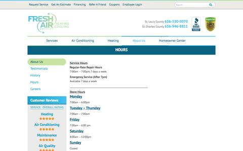 Screenshot of Hours Page fresh-air.net - Hours | Fresh Air-Weinrich Heating and Cooling - captured Oct. 6, 2014