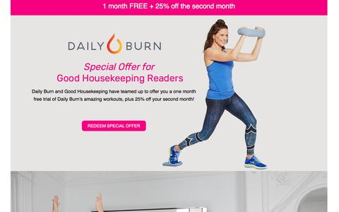 Screenshot of Landing Page dailyburn.com captured April 27, 2017