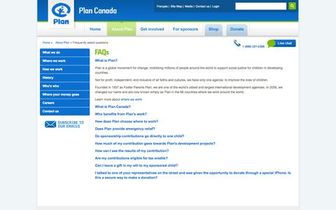 Screenshot of FAQ Page plancanada.ca - Frequently asked questions - Plan Canada - captured Sept. 24, 2014