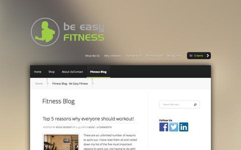 Screenshot of Blog beeasyfitness.com - Fitness Blog - Be Easy Fitness - captured Oct. 5, 2014