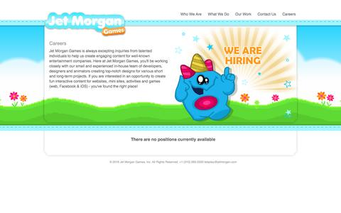 Screenshot of Jobs Page jetmorgan.com - Jet Morgan Games +1 (310) 265-2520 | Our Work - captured Nov. 27, 2016