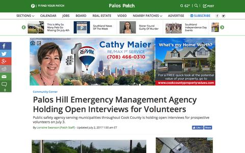 Screenshot of patch.com - Palos Hill Emergency Management Agency Holding Open Interviews for Volunteers - Palos, IL Patch - captured July 2, 2017
