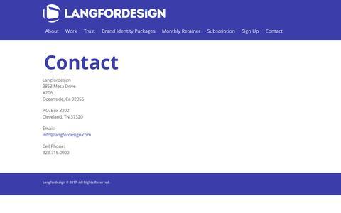 Screenshot of Contact Page langfordesign.com - Contact - Langfordesign - captured May 14, 2017