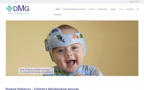 Screenshot of Home Page dmgcrs.org - Phoenix Pediatrics | Mesa | Scottsdale | Glendale | AZ - captured March 26, 2016