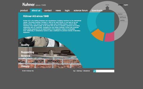 Screenshot of About Page kuhner.com - about us - shaker - captured Nov. 2, 2014