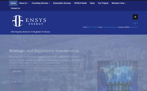 Screenshot of Home Page ensysenergy.com - EnSys Energy  Informing key decisions in the global oil industry - captured Dec. 9, 2015