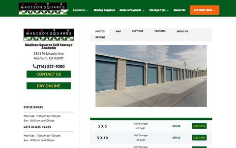 Screenshot of Locations Page madisonsquaresselfstorage.com - Anaheim, CA Storage Units | Madison Squares Self Storage - captured July 27, 2018