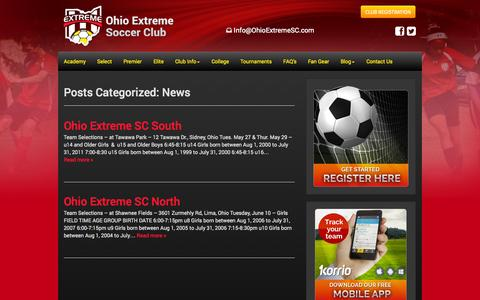 Screenshot of Press Page ohioextremesc.com - News Archives | Ohio Extreme Soccer Club - captured Oct. 27, 2014