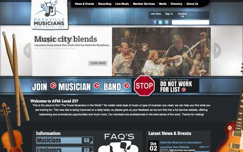 Screenshot of Site Map Page nashvillemusicians.org - Nashville Musicians Association | - captured Oct. 7, 2014