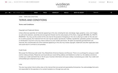 Screenshot of Terms Page vivadream.com - Terms and Conditions - captured Oct. 26, 2014