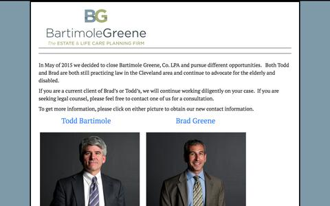 Screenshot of Home Page bartimolegreene.com - Bartimole and Greene - The Elder Law and Life Care Planning Attorneys - captured Feb. 7, 2016