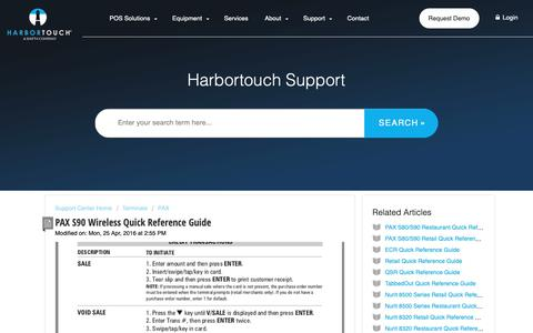 Screenshot of Support Page harbortouch.com - PAX S90 Wireless Quick Reference Guide : Harbortouch Support Center - captured Oct. 9, 2018