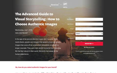 Screenshot of Landing Page newscred.com - Webinar: The Advanced Guide to Visual Storytelling: How to Choose Authentic Images   NewsCred - captured Dec. 17, 2015