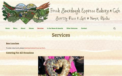 Screenshot of Services Page freshsourdoughexpress.com - Services | The Fresh Sourdough Express - captured Oct. 6, 2014